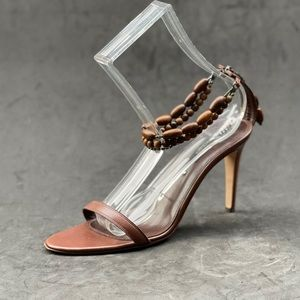 SERGIO ROSSI wood bead ankle strap sandals